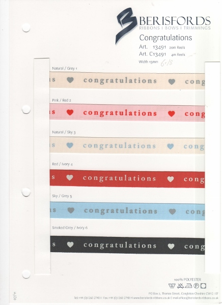 Gingerbread ~ Berisfords Ribbons ~ Width 15mm ~ Red /& Oatmeal ~ Craft Cards Bows